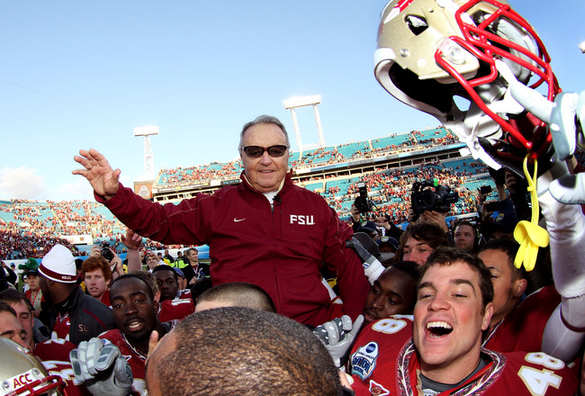 JACKSONVILLE, FL - JANUARY 01:  Head coach Bobby Bowden of the Florida State Seminoles is carried off the field by his players after defeating the West Virginia Mountaineers during the Konica Minolta Gator Bowl on January 1, 2010 at Jacksonville Municipal