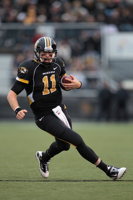 COLUMBIA, MO - NOVEMBER 13:  Quarterback Blaine Gabbert #11 of the Missouri Tigers carries the ball during the game against the Kansas State Wildcats on November 13, 2010 at Faurot Field/Memorial Stadium in Columbia, Missouri.  (Photo by Jamie Squire/Gett