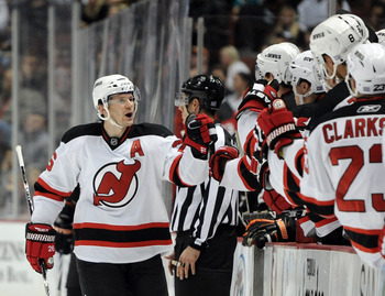 ANAHEIM, CA - OCTOBER 29:  Patrik Elias #26 of the New Jersey Devils celebrates his goal with the bench to take a 2-1 lead over the Anaheim Ducks during thr third periof at the Honda Center on October 29, 2010 in Anaheim, California.  (Photo by Harry How/