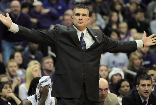 KANSAS CITY, MO - DECEMBER 21:  Head coach Frank Martin of the Kansas State Wildcats reacts from the bench during the game against the UNLV Rebels on December 21, 2010 at the Sprint Center in Kansas City, Missouri.  (Photo by Jamie Squire/Getty Images)
