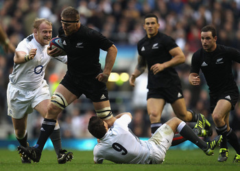 LONDON, ENGLAND - NOVEMBER 06: Brad Thorn of the New Zealand All Blacks is tackled by Ben Youngs of England during the Investec Challenge match between England and New Zealand at Twickenham Stadium on November 6, 2010 in London, England.  (Photo by Phil W