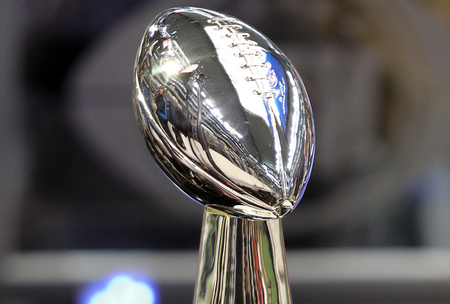 ARLINGTON, TX - FEBRUARY 01:  The Lombardi Trophy is displayed during Super Bowl XLV Media Day ahead of Super Bowl XLV at Cowboys Stadium on February 1, 2011 in Arlington, Texas. The Pittsburgh Steelers will play the Green Bay Packers in Super Bowl XLV on