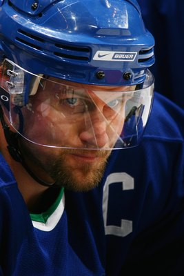 VANCOUVER, BC - APRIL 29:  Markus Naslund #19 of the Vancouver Canucks looks on against the Anaheim Ducks in Game Three of the 2007 Western Conference Semifinals at General Motors Place on April 29, 2007 in Vancouver, British Columbia, Canada. The Ducks w