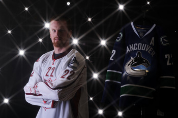 RALEIGH, NC - JANUARY 30:  (EDITORS NOTE: A special effects camera filter was used for this image.) Daniel Sedin #22 of the Vancouver Canucks for Team Staal poses for a portrait before the 58th NHL All-Star Game at RBC Center on January 30, 2011 in Raleig