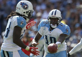 SAN DIEGO - OCTOBER 31:  Quarterback Vince Young #10 of the Tennessee Titans plays against the San Diego Chargers in the game at Qualcomm Stadium on October 31, 2010 in San Diego, California. The Chargers defeated the Titans 33-25.  (Photo by Jeff Gross/G