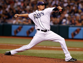 ST. PETERSBURG, FL - SEPTEMBER 14:  Pitcher Matt Garza #22 of the Tampa Bay Rays pitches against the New York Yankees during the game at Tropicana Field on September 14, 2010 in St. Petersburg, Florida.  (Photo by J. Meric/Getty Images)