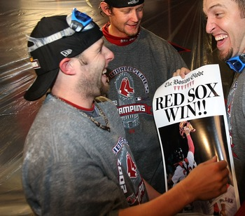 DENVER - OCTOBER 28:  (L-R) Dustin Pedroia, Matt Clement and Doug Mirabelli of the Boston Red Sox celebrate in the locker room after winning Game Four by a score of 4-3 to win the 2007 Major League Baseball World Series in a four game sweep of the Colorad