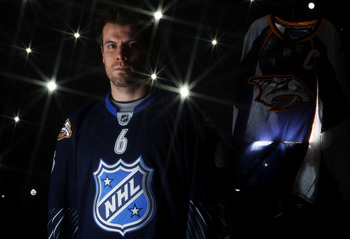 RALEIGH, NC - JANUARY 30:  (EDITORS NOTE: A special effects camera filter was used for this image.) Shea Weber #6 of the Nashville Predators for Team Lidstrom poses for a portrait before the 58th NHL All-Star Game at RBC Center on January 30, 2011 in Rale