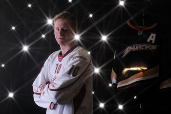 RALEIGH, NC - JANUARY 30:  (EDITORS NOTE: A special effects camera filter was used for this image.) Corey Perry #10 of the Anaheim Ducks for Team Staal poses for a portrait before the 58th NHL All-Star Game at RBC Center on January 30, 2011 in Raleigh, No