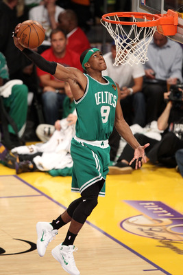 LOS ANGELES, CA - JUNE 03:  Rajon Rondo #9 of the Boston Celtics attempts a dunk against the Los Angeles Lakers in Game One of the 2010 NBA Finals at Staples Center on June 3, 2010 in Los Angeles, California.  NOTE TO USER: User expressly acknowledges and