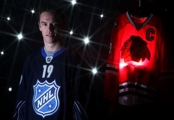 RALEIGH, NC - JANUARY 30:  (EDITORS NOTE: A special effects camera filter was used for this image.) Jonathan Toews #19 of the Chicago Blackhawks for Team Lidstrom poses for a portrait before the 58th NHL All-Star Game at RBC Center on January 30, 2011 in
