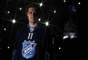RALEIGH, NC - JANUARY 30:  (EDITORS NOTE: A special effects camera filter was used for this image.) Anze Kopitar #11 of the Los Angeles Kings poses for a portrait before the 58th NHL All-Star Game at RBC Center on January 30, 2011 in Raleigh, North Caroli