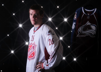 RALEIGH, NC - JANUARY 30:  (EDITORS NOTE: A special effects camera filter was used for this image.)  Paul Stastny #26 of the Colorado Avalanche for Team Staal poses for a portrait before the 58th NHL All-Star Game at RBC Center on January 30, 2011 in Rale