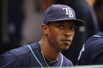ST PETERSBURG, FL - OCTOBER 07:  BJ Upton #2 the Tampa Bay Rays waits in the dugout during Game 2 of the ALDS against the Texas Rangers at Tropicana Field on October 7, 2010 in St. Petersburg, Florida.  (Photo by Mike Ehrmann/Getty Images)