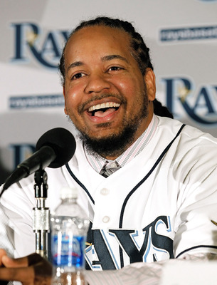 ST PETERSBURG, FL - FEBRUARY 01:  Manny Ramirez #24 of the Tampa Bay Rays talks with reporters at a press conference at Tropicana Field on February 1, 2011 in St Petersburg, Florida.  (Photo by J. Meric/Getty Images)