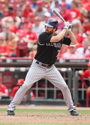 CINCINNATI - JULY 18:  Seth Smith #7 of the Colorado Rockies is at bat during the game against the Cincinnati Reds at Great American Ball Park on July 18, 2010 in Cincinnati, Ohio.  (Photo by Andy Lyons/Getty Images)