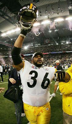DETROIT - FEBRUARY 05:  Running back Jerome Bettis #36 of the Pittsburgh Steelers celebrates on the field after defeating the Seattle Seahawks in Super Bowl XL at Ford Field on February 5, 2006 in Detroit, Michigan. Bettis announced his retirement after t