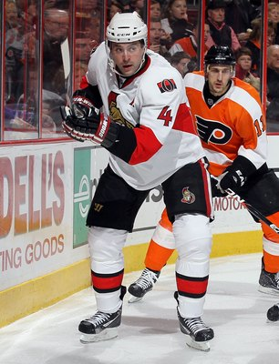 PHILADELPHIA, PA - JANUARY 20:  Chris Phillips #4 of the Ottawa Senators skates against the Philadelphia Flyers on January 20, 2011 at Wells Fargo Center in Philadelphia, Pennsylvania.  (Photo by Jim McIsaac/Getty Images)