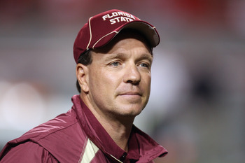 RALEIGH, NC - OCTOBER 28:  Head coach Jimbo Fisher watches on before their game against the North Carolina State Wolfpack at Carter-Finley Stadium on October 28, 2010 in Raleigh, North Carolina.  (Photo by Streeter Lecka/Getty Images)