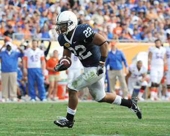 TAMPA, FL - JANUARY 1:  Running back Evan Royster #22 of the Penn State Nittany Lions rushes upfield against the Florida Gators January 1, 2011 in the 25th Outback Bowl at Raymond James Stadium in Tampa, Florida.  (Photo by Al Messerschmidt/Getty Images)