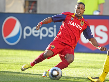 SANDY, UT - AUGUST 14: Robbie Findley #10 of Real Salt Lake goes after the ball during a game against the Columbus Crew during the first half of an MLS soccer game August 14, 2010 at Rio Tinto Stadium in Sandy, Utah. (Photo by George Frey/Getty Images)