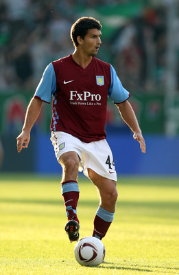VIENNA, AUSTRIA - AUGUST 19:  Eric Lichaj of Aston Villa in action during the UEFA Europa League, Play off, first leg Qualifying match between Rapid Vienna and Aston Villa at the Gerhard Hanappi Stadium on August 19, 2010 in Vienna, Austria.  (Photo by Ia