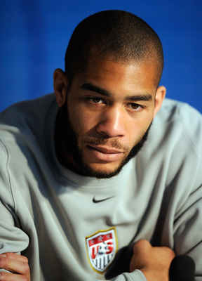 PRETORIA, SOUTH AFRICA - JUNE 08:  Oguchi Onyewu of USa national football team speaks during a news conference at Irene Farm on June 8, 2010 in Irene near Pretoria, South Africa.  (Photo by Kevork Djansezian/Getty Images)