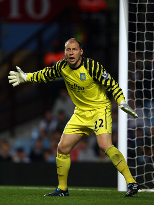 BIRMINGHAM, ENGLAND - SEPTEMBER 22:  Brad Guzan of Villa in action during the Carling Cup 3rd Round match between Aston Villa and Blackburn Rovers at Villa Park on September 22, 2010 in Birmingham, England.  (Photo by Richard Heathcote/Getty Images)