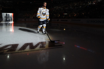 RALEIGH, NC - JANUARY 29:  Tyler Ennis #63 of the Buffalo Sabres is introduced during the Honda NHL SuperSkills competition part of 2011 NHL All-Star Weekend at the RBC Center on January 29, 2011 in Raleigh, North Carolina.  (Photo by Harry How/Getty Imag