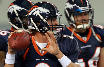 ARLINGTON, TX - AUGUST 11:  Adam Weber #2 of the Denver Broncos at Cowboys Stadium on August 11, 2011 in Arlington, Texas.  (Photo by Ronald Martinez/Getty Images)
