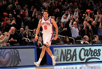 NEW YORK, NY - JANUARY 27: Landry Fields #6 of the New York Knicks celebrates scoring a three pointer against the Miami Heat at Madison Square Garden on January 27, 2011 in New York City. NOTE TO USER: User expressly acknowledges and agrees that, by downl
