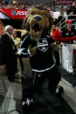 RALEIGH, NC - JANUARY 29:  Bailey, the Los Angeles Kings mascot, poses during the Honda NHL SuperSkills competition part of 2011 NHL All-Star Weekend at the RBC Center on January 29, 2011 in Raleigh, North Carolina.  (Photo by Kevin C. Cox/Getty Images)