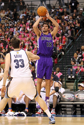 DALLAS - FEBRUARY 12:  Omri Casspi #18 of the Rookie team shoots against Marc Gasol #33 of the Sophomore team during the first half of the T-Mobile Rookie Challenge &amp; Youth Jam part of 2010 NBA All-Star Weekend at American Airlines Center on February 12,