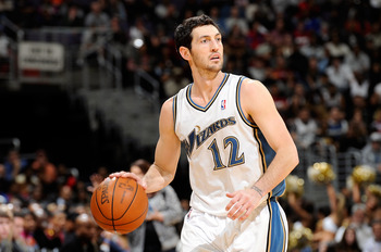 WASHINGTON, DC - DECEMBER 18:  Kirk Hinrich #12 of the Washington Wizards handles the ball against the Miami Heat at the Verizon Center on December 18, 2010 in Washington, DC. NOTE TO USER: User expressly acknowledges and agrees that, by downloading and o