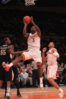 NEW YORK - NOVEMBER 19: Jordan Hamilton #3 of the Texas Longhorns drives to the basket against the Pittsburgh Panthers during the Championship game of the 2k Sports Classic at Madison Square Garden on November 19, 2010 in New York, New York.  (Photo by Ch