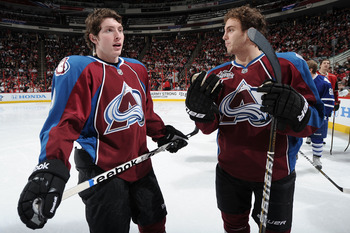 RALEIGH, NC - JANUARY 29:  Keven Shattenkirk #8 and Matt Duchene #9 of the Colorado Avalanche during the Honda NHL SuperSkills competition part of 2011 NHL All-Star Weekend at the RBC Center on January 29, 2011 in Raleigh, North Carolina.  (Photo by Harry