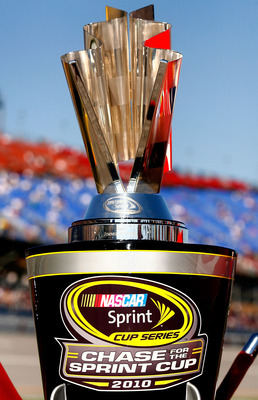TALLADEGA, AL - OCTOBER 31:  The NASCAR Sprint Cup trophy sits on pit road during pre-race activities for the NASCAR Sprint Cup Series AMP Energy Juice 500 at Talladega Superspeedway on October 31, 2010 in Talladega, Alabama.  (Photo by Jason Smith/Getty
