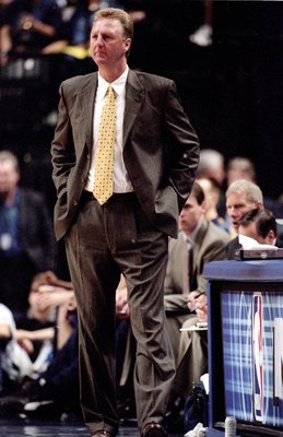 8 May 2000:  Head Coach Larry Bird  of the Indiana Pacers watches the action from the sidelines during the NBA Playoff Round Two Game against the Philadelphia 76ers  at the Conseco Fieldhouse in Indianapolis, Indiana. The Pacers defeated the 76ers 103-97.