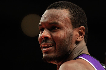 NEW YORK, NY - JANUARY 14:  Samuel Dalembert #10 of the Sacramento Kings looks on during the game against the New York Knicks at Madison Square Garden on January 14, 2011 in New York City. NOTE TO USER: User expressly acknowledges and agrees that, by down