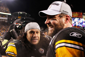 PITTSBURGH, PA - JANUARY 23:  Troy Polamalu #43 and Ben Roethlisberger #7 of the Pittsburgh Steelers celebrate after they defeated the New York Jets 24 to 19 in the 2011 AFC Championship game at Heinz Field on January 23, 2011 in Pittsburgh, Pennsylvania.