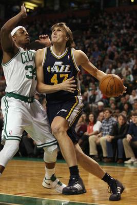 BOSTON, MA - JANUARY 21:  Andrei Kirilenko #47 of the Utah Jazz heads for the basket as Paul Pierce #34 of the Boston Celtics defends on January 21, 2011 at the TD Garden in Boston, Massachusetts.  NOTE TO USER: User expressly acknowledges and agrees that