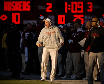 LINCOLN, NE - NOVEMBER 26: Coach Bo Pelini of the Nebraska Cornhuskers  during their game against the Colorado Buffaloes at Memorial Stadium on November 26, 2010 in Lincoln, Nebraska. Nebraska defeated Colorado 45-17 (Photo by Eric Francis/Getty Images)