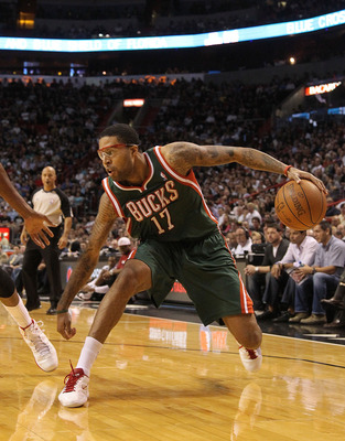 MIAMI, FL - JANUARY 04:  Chris Douglas-Roberts #17 of the Milwaukee Bucks drives to the basket during a game against the Miami Heat at American Airlines Arena on January 4, 2011 in Miami, Florida. NOTE TO USER: User expressly acknowledges and agrees that,