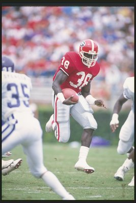 1988:  Running back Tim Worley of the Georgia Bulldogs runs down the field during a game against the Texas Christian Horned Frogs at Sanford Stadium in Athens, Georgia.  Mandatory Credit: Allen Dean Steele  /Allsport