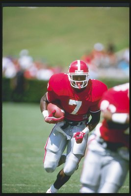 16 Sep 1989:  Running back Rodney Hampton of the Georgia Bulldogs runs down the field during a game against the Baylor Bears at Sanford Stadium in Athens, Georgia.  Georgia won the game 15-3. Mandatory Credit: Allen Dean Steele  /Allsport