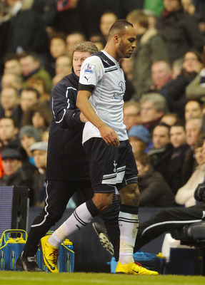 LONDON, ENGLAND - DECEMBER 28: Younes Kaboul of Tottenham Hotspur leaves the pitch after being sent off during the Barclays Premier League match between Tottenham Hotspur and Newcastle United at White Hart Lane on December 28, 2010 in London, England.  (P
