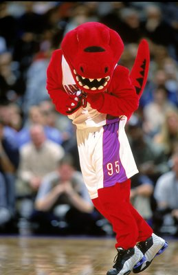 20 Nov 2000: A view of the Toronto Raptors mascot as he moves on the court during the game against the Charlotte Hornets at the Air Canada Centre in Toronto, Ontario, Canada. The Hornets defeated the Raptors 100-64.  NOTE TO USER: It is expressly understo