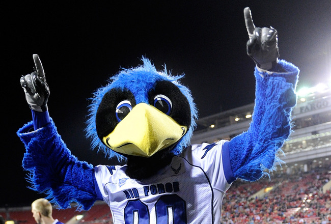 LAS VEGAS - NOVEMBER 18:  The Air Force Falcons mascot The Bird performs during the team's game against the UNLV Rebels at Sam Boyd Stadium November 18, 2010 in Las Vegas, Nevada. Air Force won 35-20.  (Photo by Ethan Miller/Getty Images)