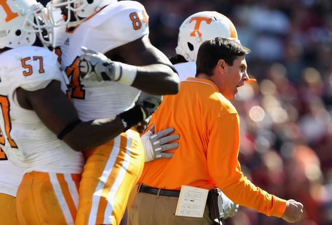 COLUMBIA, SC - OCTOBER 30:  Head coach Derek Dooley of the Tennessee Volunteers watches on against the South Carolina Gamecocks during their game at Williams-Brice Stadium on October 30, 2010 in Columbia, South Carolina.  (Photo by Streeter Lecka/Getty Im