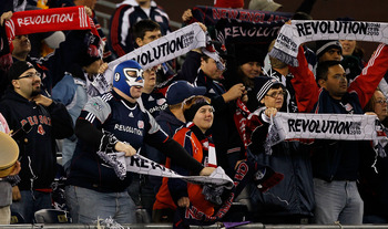 FOXBORO, MA - OCTOBER 16:  Fans of the New England Revolution react during a game against the Kansas City Wizards at Gillette Stadium on October 16, 2010 in Foxboro, Massachusetts. The Revolution won 1-0. (Photo by Jim Rogash/Getty Images)